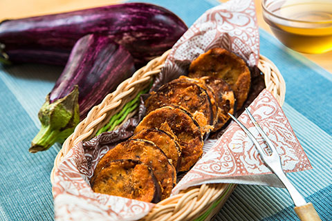 Crispy battered eggplant with beer