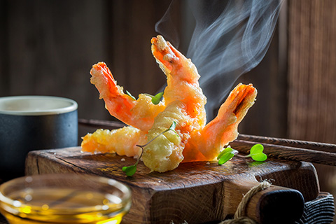 Vegetables and prawns tempura